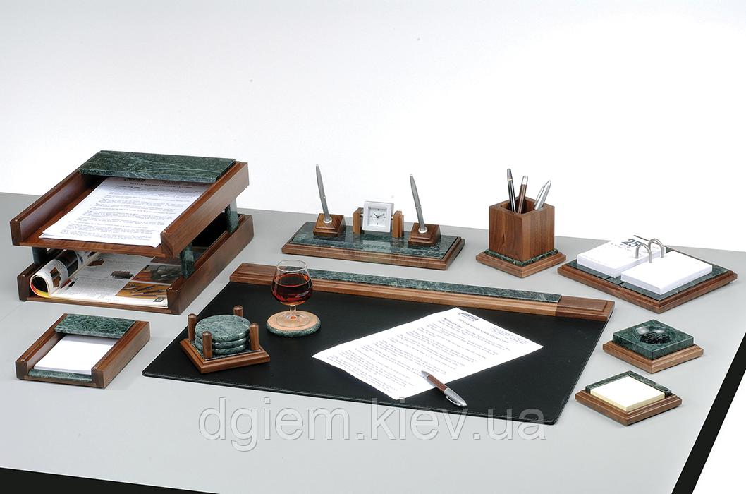 """Настольный набор деревянный с мрамором 9 предметов """"орех"""""""