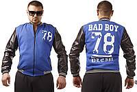 Куртка мужская повседневная из трехнитки и экокожи BAD BOY P1291