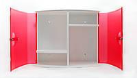 Шкафчик в ванную с дверцами красный цвета, АБС пластик