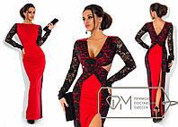 Красивое вечернее красное длинное платье с разрезом, и черными гипюровыми вставками  . Арт-3292/23