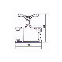 Профиль для шкаф- купе алюминиевый вертикальный 5,4 м серебро