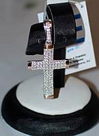 Серебряный крестик с накладкой золота и камнями