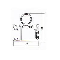 Профиль для шкаф- купе алюминиевый вертикальный 5,4м серебро