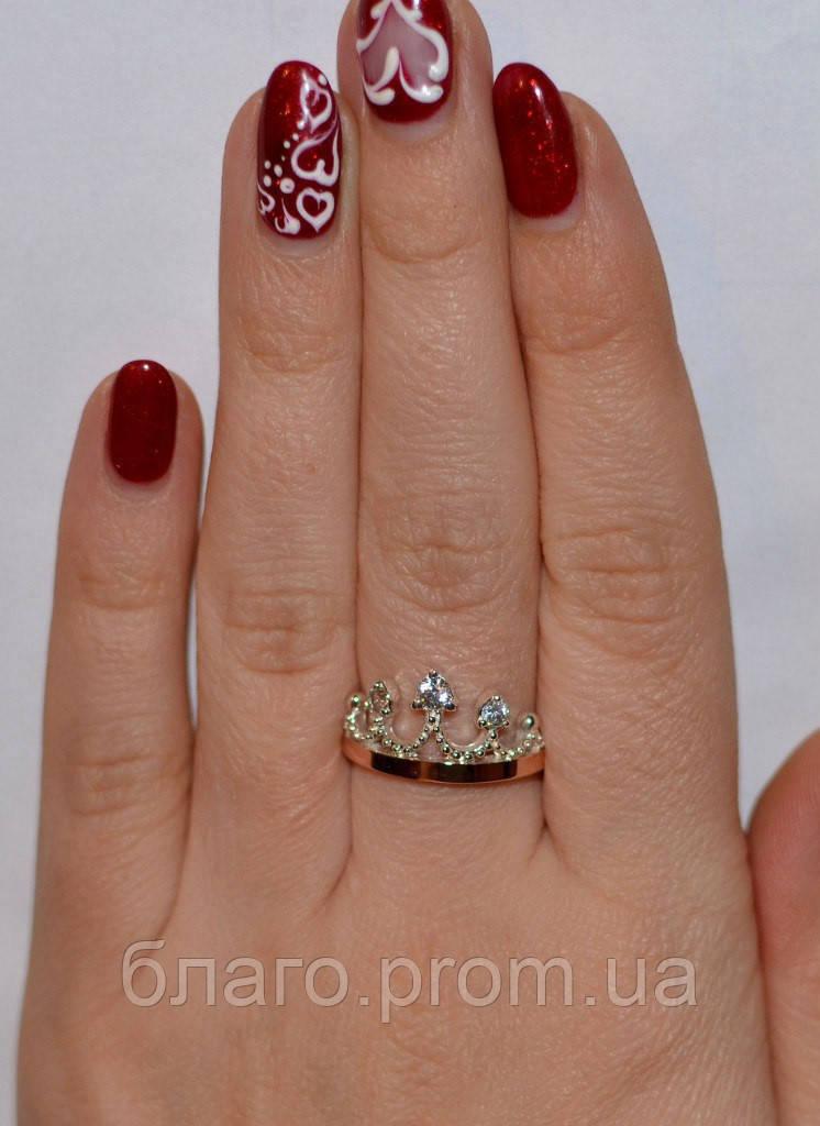 Серебряное кольцо Корона с накладками золота