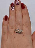 Серебряное кольцо Корона с накладками золота, фото 1
