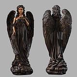 Скульптура в Украине. Надгробный Ангел с розами из полистоуна 57 см, фото 2
