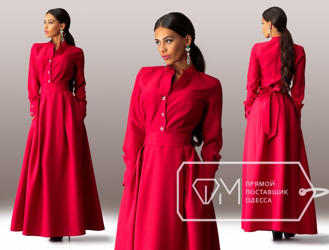 7e1d7ccace6 Красное длинное платье с пуговицами на груди. Арт-3295 23 - Интернет-