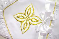 Оригинальная пеленка на крестины с золотым люрексом, фото 1