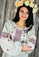 Женская вышитая рубашка из хлопка бежевого цвета с красным орнаментом «Традиционная», фото 1