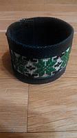 Темно-зеленый кожаный браслет с вышивкой 2