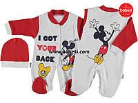 """Человечек детский унисекс """"Микки Маус"""" 62, 74 размер. Боди, комбинезон, песочник на новорожденного"""