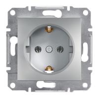 Розетка с заземлением алюминий ASFORA Schneider electric EPH2900161