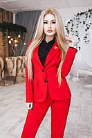 Костюм женский брюки и пиджак на пуговицах - Красный