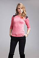 Модная блуза с эластичным кружевом на плечах , фото 1