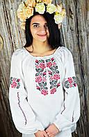 Женская блуза с вышивкой белого цвета с растительным орнаментом «Куст розы», фото 1