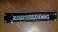 Темно-синий кожаный браслет с вышивкой 12