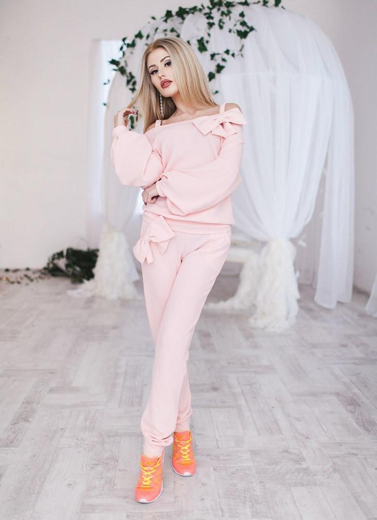 Костюм женский свободный с Бантами ― Розовый