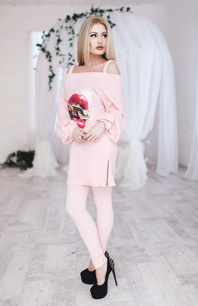 Костюм женский штаны и туника Губы ― Розовый