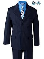 Нарядный синий костюм в полоску