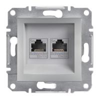 Розетка компьютерная+телефонная (1xRJ45+1xRJ11) алюминий ASFORA Schneider electric EPH4900161