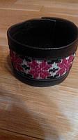 Коричневый кожаный браслет с вышивкой 19