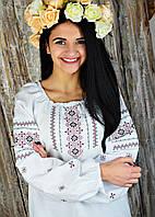 Женская вышиванка белого цвета с широкой круглой горловиной и длинным рукавом «Скромница», фото 1