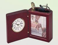"""Настольный деревянный прибор (часы+фоторамка) """"красное дерево"""""""