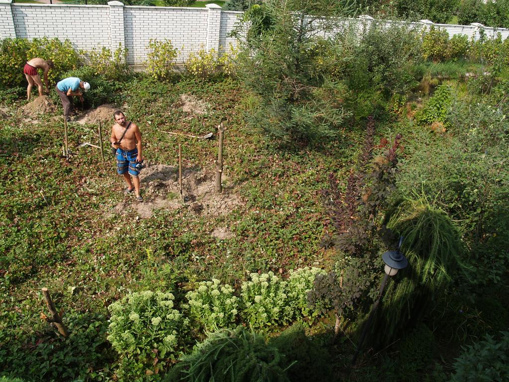 На месте будущего пруда росла клубника и несколько деревьев.Подъехать тяжёлой технике было невозможно, поэтому копали пруд вручную, весь грунт около 120м3 остался на участке.