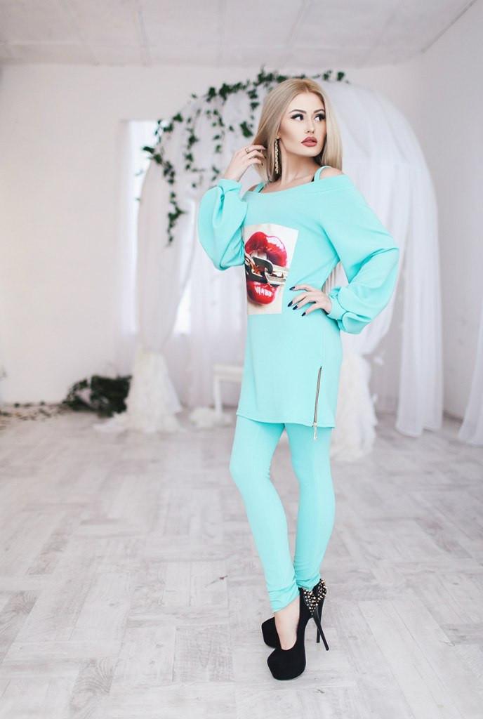 Костюм женский штаны и туника Губы ― Мятный