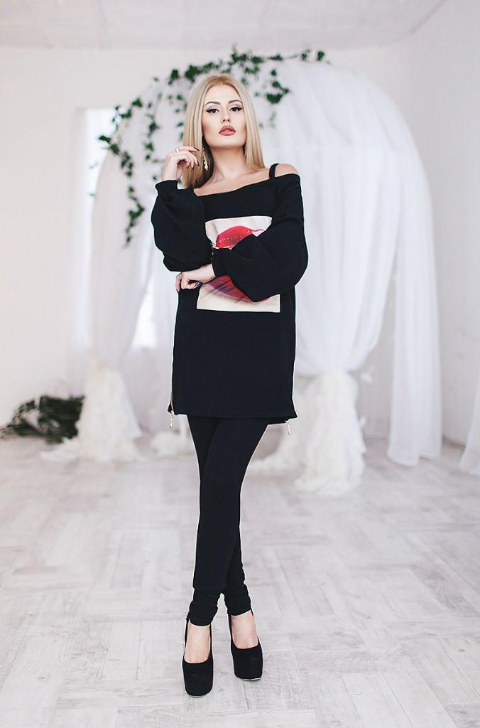 Костюм женский штаны и туника Губы ― Черный