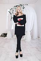 Костюм женский штаны и туника Губы - Черный