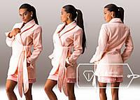 Пальто персиковое кашемировое с поясом и брошкой. Арт-3256/23.