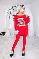 Костюм женский штаны и туника Губы - Красный