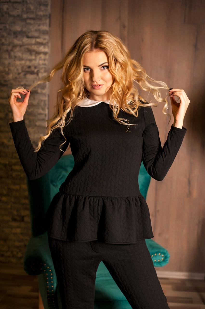 Костюм женский брюки и кофта с баской - Черный