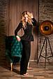 Костюм женский брюки и кофта с баской - Черный, фото 4