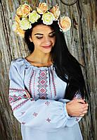 Женская вышитая рубашка голубого цвета в украинском стиле «Скромница», фото 1