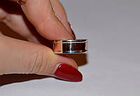 Обручальное кольцо серебряное с накладкой золота
