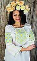 Красивая женская украинская вышиванка с сине-голубой вышивкой с рукавом 3/4 «Родина-мать», фото 1