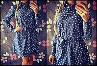 Красивое женское короткое платье рубашечного типа, в разных расцветках