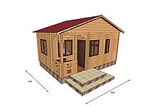 Строительство бани деревянной из профилированного бруса с верандой 6х4