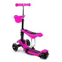 Детский самокат Scooter 3в1 светящ. колёса розовый