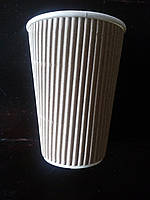 Стакан бумажный гофрированый (340мл) крафт