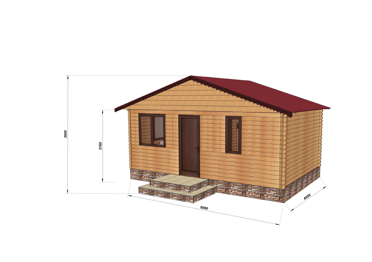 Строительство бани деревянной из профилированного бруса 6х4