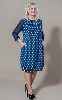 Красивое и стильное женское платье в горошек с карманами