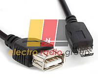 Кабель USB 2.0 AF/Micro-B OTG, 0.8m, черный 16028