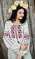 Украинская женская блуза на длинны рукав с вышивкой на груди и рукавах «Дуб и калина», фото 1