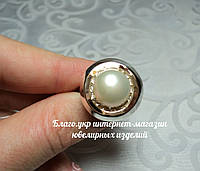 Серебряное кольцо 925 пробы с накладками золота 375 пробы с жемчугом, фото 1