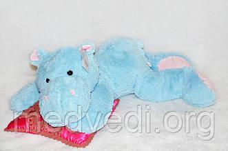 Лежачая игрушка бегемот 100 см голубого цвета