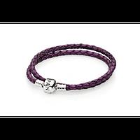 Фиолетовый кожаный браслет Pandora в два оборота