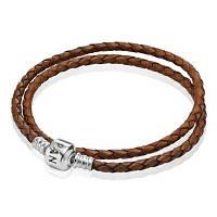 Коричневый кожаный браслет Pandora в два оборота